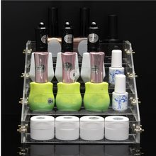 Pro 4 Tiers Display Stand Acrylic Clear Nail Polish Cosmetic Varnish Holder Women Makeup Organizer Case High Quality