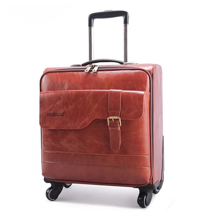 Commercial cowhide split leather box quality leather trolley luggage 16 18 20 22 24 28 universal wheels luggage travel bag