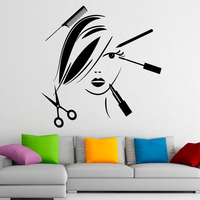 Charming Beauty Salon Wall Stickers Make Up Fashion Cosmetics Art Wall Decal Home  Sticker Waterproof Art Vinyl