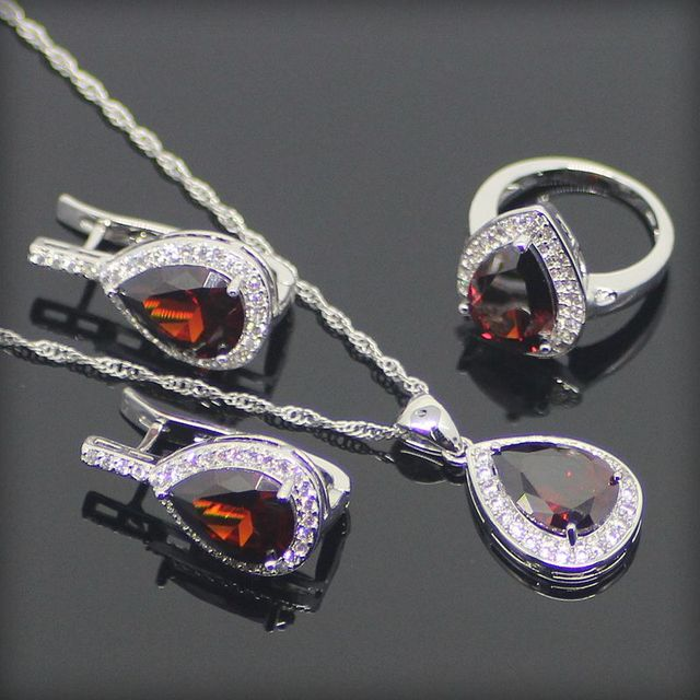 Drop 925 Sterling Silver Red Garnet White Created Topaz Jewelry Sets For Women Sliver Necklace/Pendant/Rings/Earrings Free Box
