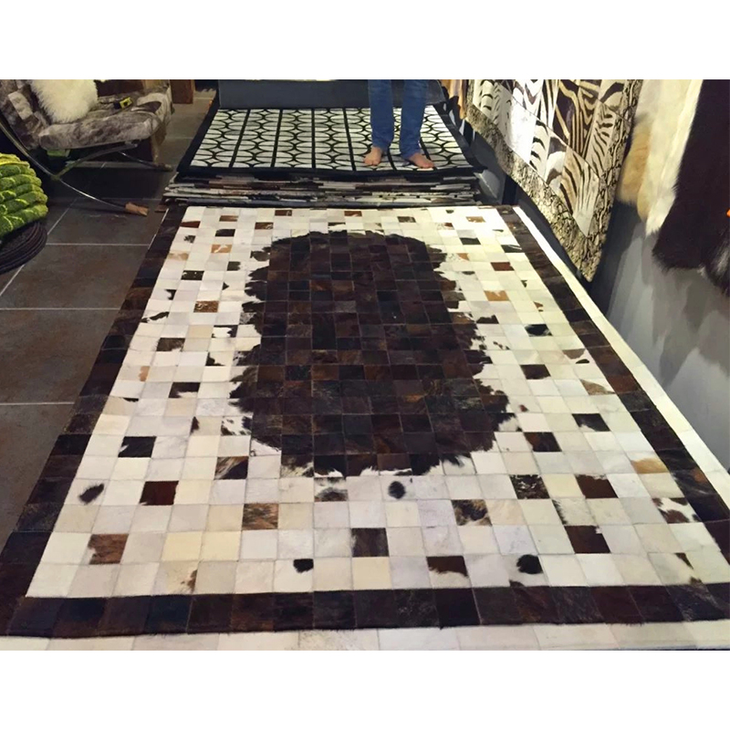 Black Brown And White Patchwork Cowhide Rug Stripes Design No 272