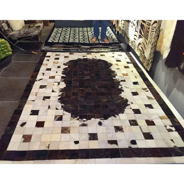 Modern Dark Brown Ivory White Cowhide Patchwork Area Rug Natural Fur Hair Rugs And