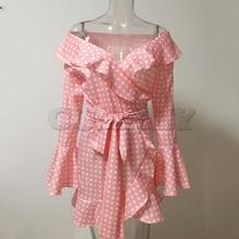 Cuerly Red dot print sexy short dress vestidos Summer flare sleeve plaid bow ruffle dress Off should dress women two piece setL5