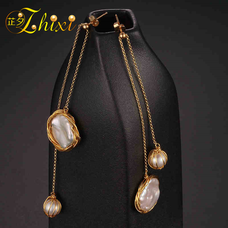 [ZHIXI] Long Pearl Earrings For Women Fine Jewelry Freshwater Pearl Earrings Big Baroque 2018 Fashion Engagement Gift EB02 [nymph] pearl earrings for women fine jewelry maxi baroque freshwater pearl earrings 2018 trendy gift for anniversary [e320]