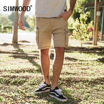 SIMWOOD New Arrive 2019 Summer Shorts Men Sweatpants Fashion Casual High Quality Cotton Vintage Cargo Shorts Plus Size 180009