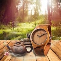 Nature Wooden Watch 2017 Minimalist Clock Bamboo Genuine Leather Fashion Men Women Creative Cool Male Female