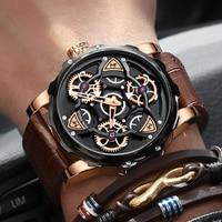 Luxe Merk Mannen Analoge Lederen Sport Horloges Bruin Mannen Militaire Horloge Mannelijke Quartz Klok Relogio Masculino 2020 Waches