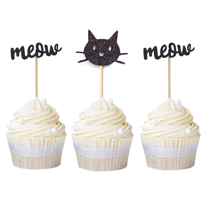 12pcs Gold Black <font><b>Cat</b></font> with Meow <font><b>Cupcake</b></font> <font><b>Toppers</b></font> Pet Birthday Decorations Baby Shower Party Supplies Animal Party Free Shipping image