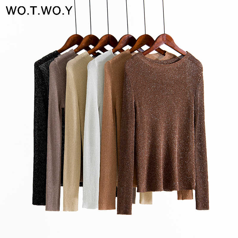 WOTWOY 2019 Autumn Winter Shiny Lurex Basic Sweaters Women O-neck Long Sleeve Thin Slim Pullovers Female Casual Knitted Tops