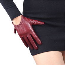 Touch Screen Gloves Genuine Leather Pure Imported Goatskin Tassel Zipper Short Style Womans Mobile Phone TB08-1
