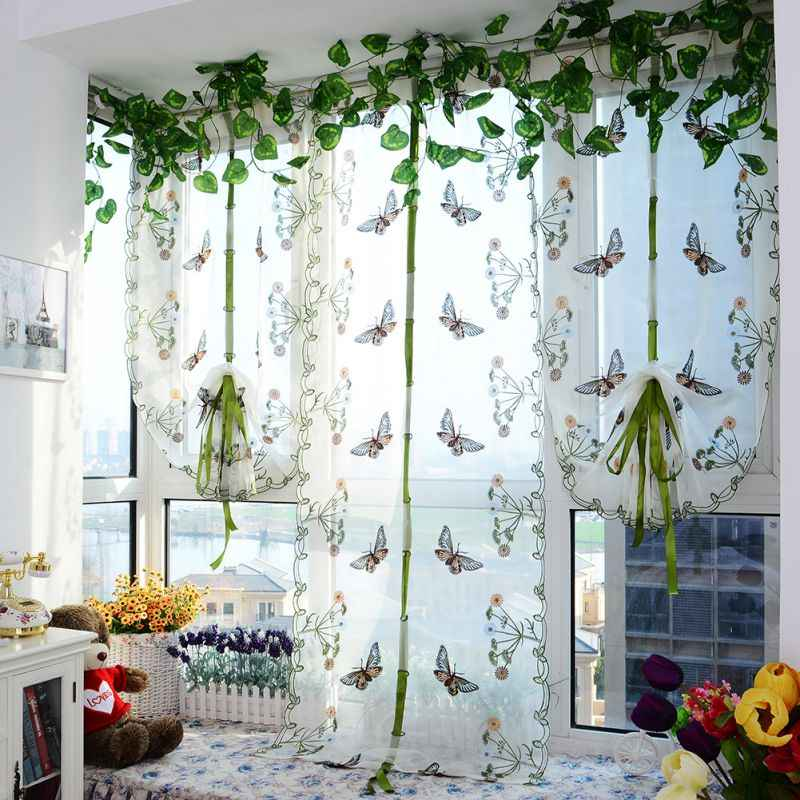 Indoor Butterfly Tulle Curtain For Windows Roman Shades Blinds Embroidered  Sheer Curtains Kitchen Living Room Panel