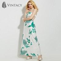 Vintacy Women Summer Green A Line Dress Backless Floral Beach Halter Casual Women Dress Sleeveless Spring