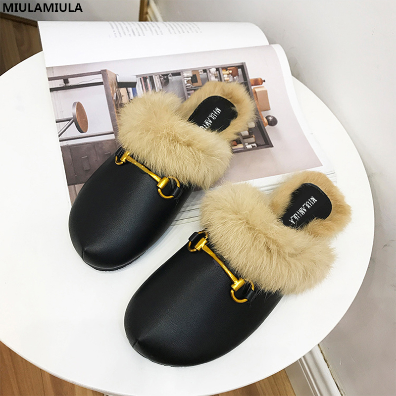 MIULAMIULA Brand Designers 2018 Fashion Rabbit Hair Woman Flat Slides Lady Shoes Furry Slippers Slip On Loafers Mules Flip Flops miulamiula brand designers 2018 fashion rabbit hair woman flat slides lady shoes furry slippers slip on loafers mules flip flops