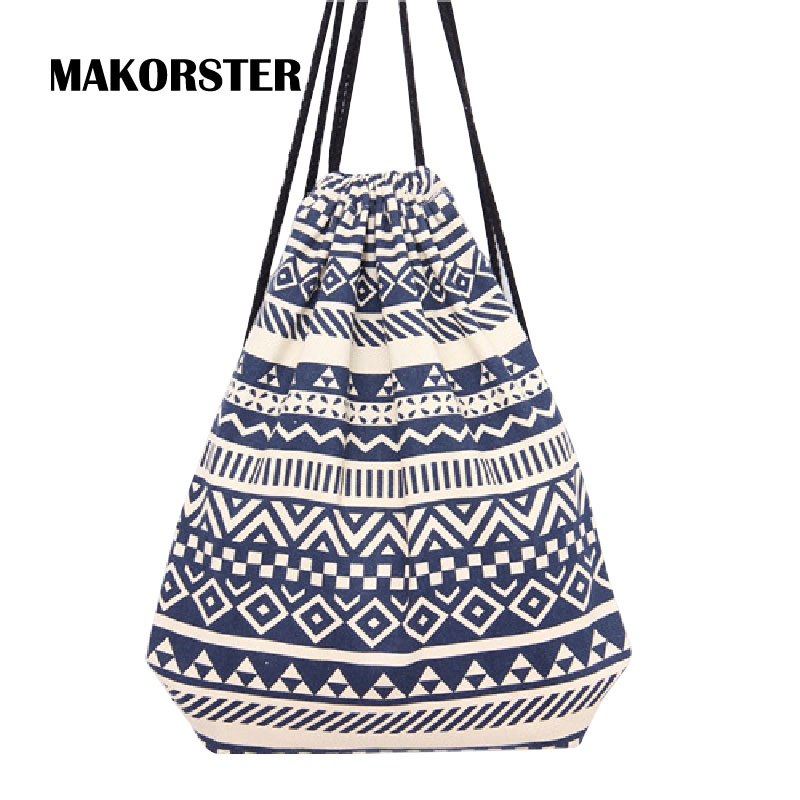 MAKORSTER summer Japan and Korean Style backpack beach drawstring bag Canvas kawaii women rucksacks for girls backpacks MK002