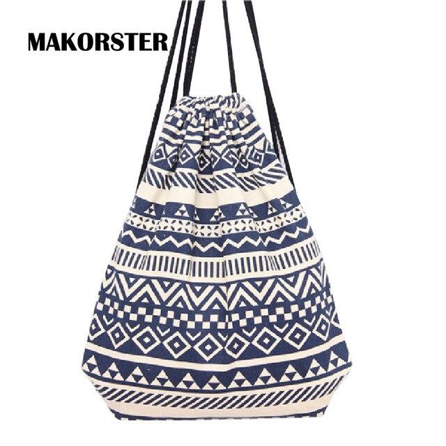 dc4e717ff6e3 MAKORSTER summer Japan and Korean Style backpack beach drawstring bag  Canvas kawaii women rucksacks for girls backpacks MK002