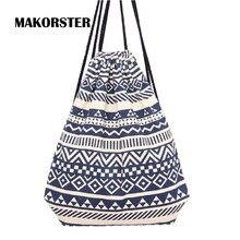 MAKORSTER summer Japan and Korean Style backpack beach drawstring bag Canvas kawaii women rucksacks for girls backpacks DJ0112