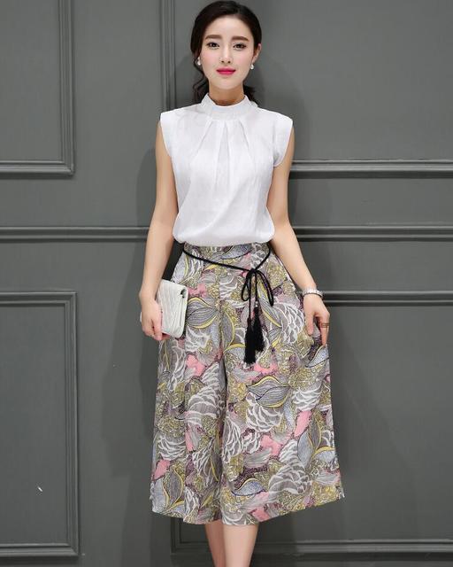 Мода Женщины Устанавливает Элегантных женщин Костюмы Из Двух Частей Устанавливает Топ и Брюки Дамы Офис Повседневная Наборы Бизнес Работа Костюмы Цветочные печати