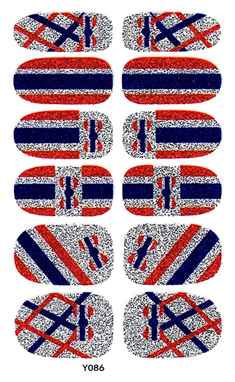Y5086 New Fashion Women Adhesive Nail Art Tip Stickers Glitter Old Retro Uk Flag Wraps