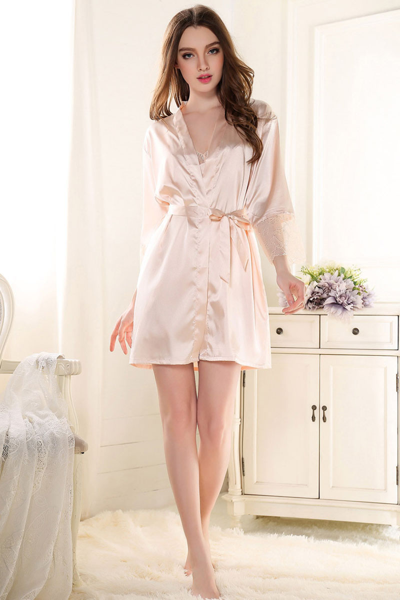 sexy women nightwear long robe pink silk robe woman nightwear silk gown satin kimono robes for. Black Bedroom Furniture Sets. Home Design Ideas