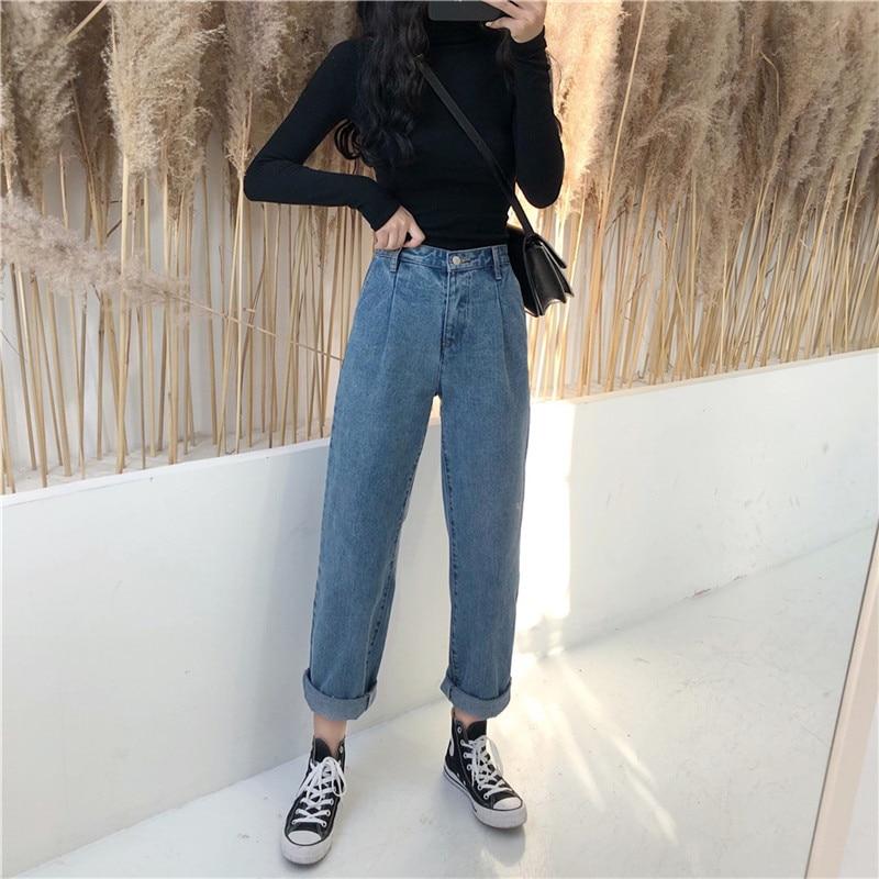Spring 2019 Korean retro versatile temperament retro loose straight leg jeans high waist trend (3)