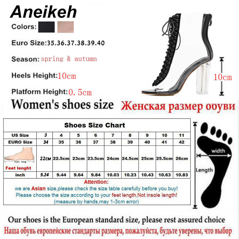 e7697348fad ... Aneikeh Women Sandals Ankle Strap Perspex High Heels PVC Clear Crystal  Concise Classic Buckle Strap Sandals