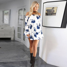 2019 summer Women A-Line Dress Off Shoulder Floral Printed Long Sleeve Beach Dress With Fashion Belt Elegant Casual mini dresses blue random floral printed a line mini dress