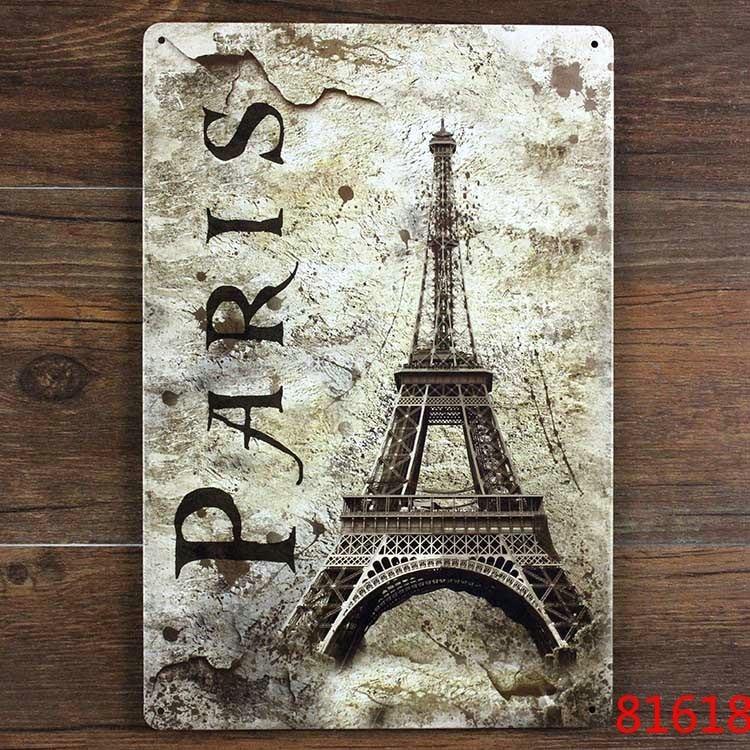 PARIS Eiffel Tower Metal Plaque Vintage Bar Iron painting House Cafe ...