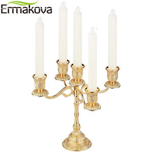 ERMAKOVA Stand Candelabra Peacock Golden-Candlestick Metal Wedding-Event Taper Floral