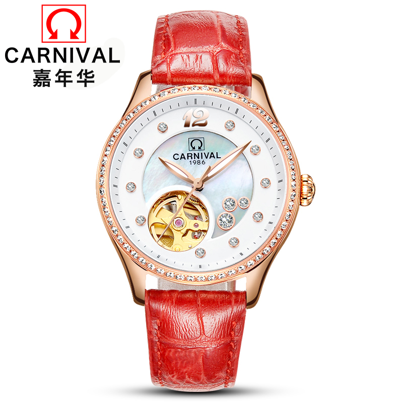 2018 Rushed Special Carnival Watch Lady Automatisk Mekanisk Mode Carnival Tourbillon Relogio Feminino Montre Clock