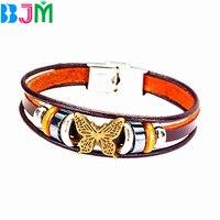 BJM Handmade Vintage Braclet Leather Wrap Cuff Bracelets Bangles Wristband Retro Viking Jewelry Wholesale NO170532