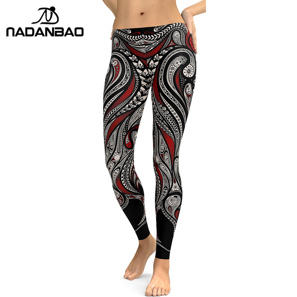 NADANBAO New Style   Leggings   Women Mandala Flower 3D Digital Printing   Legging   Fitness Leggins High Waist Trousers Pants