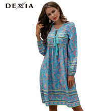 DEXIA Bohemian Bow Summer Flower Printed Dress Women Floral Full Sleeve Dress Sexy Floral Long Beach Vintage Blue Dress Femme(China)