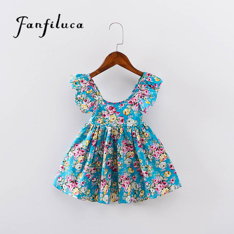 Fanfiluca Kids Dresses For Girls Fashion Girls Dresses Summer Style Floral Bohemian Girl Dress Princess Novelty Kids Clothes