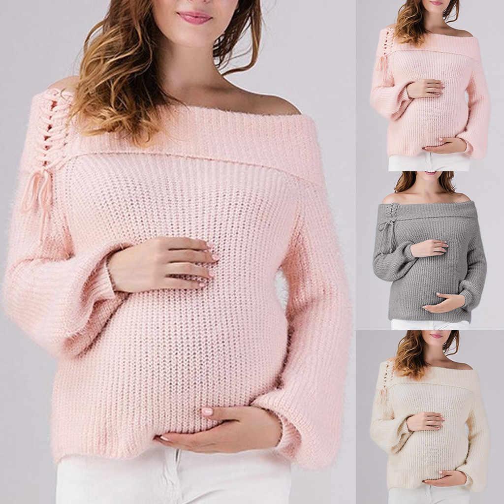 2020 nova mulher grávida usar mangas compridas casual topo amamentação uma palavra alça de ombro mulher grávida jaqueta # y1