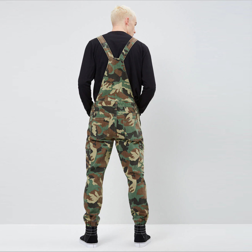 New Fashion Camouflage Design Jeans Denim Overalls Men Casual Wash Skinny Bib Overalls Jeans Male Jumpsuit Jean Pant
