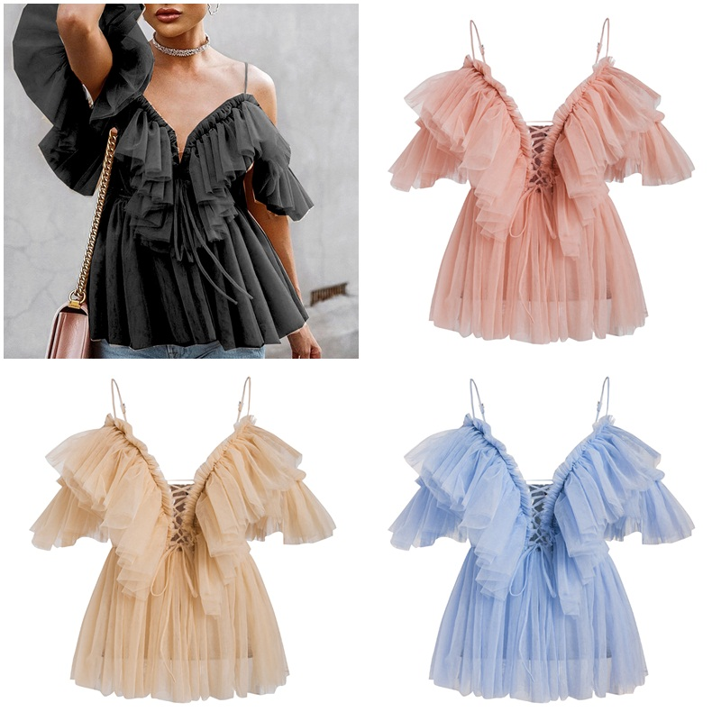 V neck strap boho mesh blouse shirt women Ruffle short sleeve elegant top