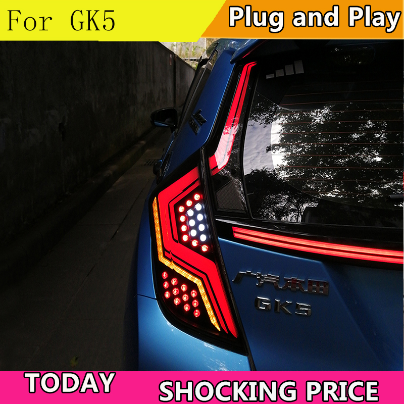 Car styling Tail Lights For Honda Jazz  Fit 2014-2018 Led Tail Lights Rear Fog lamp Rear Lamp DRL+Brake+Park+Signal lights