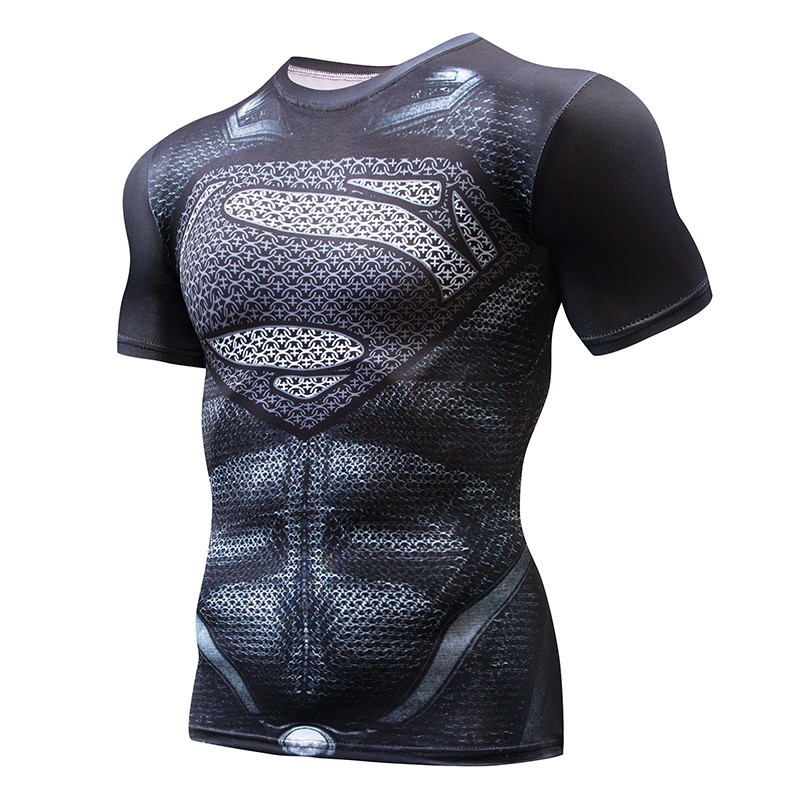 Super hero Crossfit Tops Men's Tight Skin Fit Short Sleeve Compression Shirt Bodybuilding T shirt 3D Printed Punisher Skull Tees