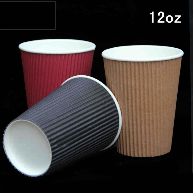 12oz Colorful Corrugated Disposable Party Paper Cup With Lids Kraft Coffee Cups For Birthday