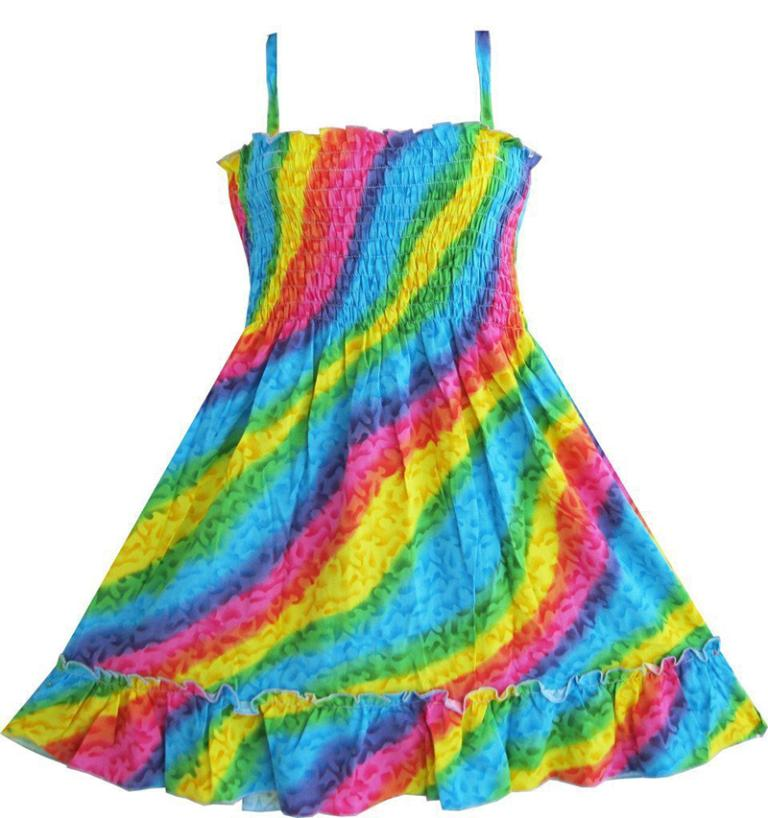 Sunny Fashion Girls Dress Rainbow Smocked Halter Baby Kids Children Clothes 3-10 Girl Summer Princess Dresses Vestidos