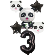 6pcs China Panda Foil Balloons and 32inch black number Childrens Inflatable Toys Birthday Party Decor Kids giant Globos