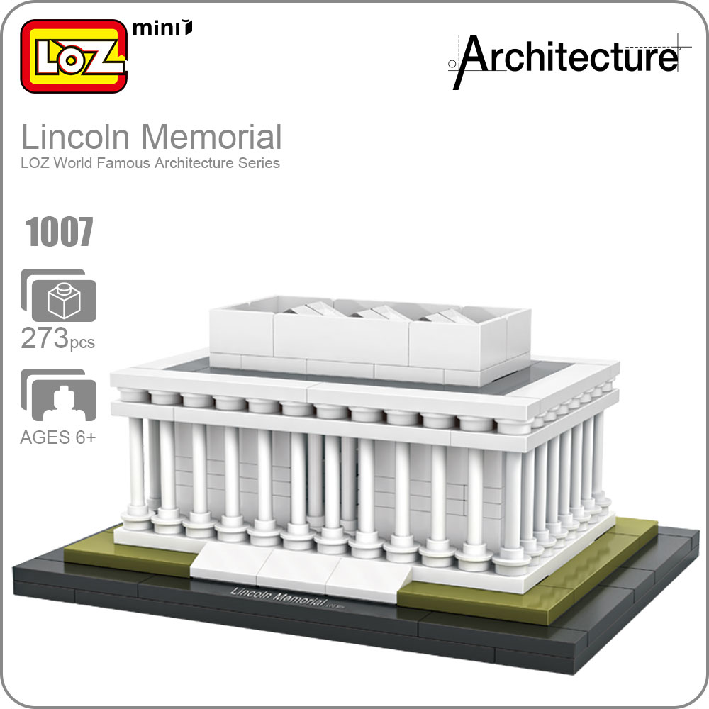LOZ ideas Mini Blocks Lincoln Memorial Architecture Washington Mini Plastic Building Model Bircks Toy Educational DIY Gift 1007 loz architecture famous architecture building block toys diamond blocks diy building mini micro blocks tower house brick street