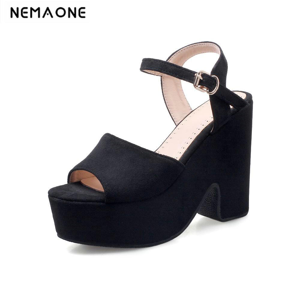 Shoes Women 2018 Summer New elegant Flock Open Toe thick heel Sandals plat platform high-heeled Shoes wholesale lttl new spring summer high heels shoes stiletto heel flock pointed toe sandals fashion ankle straps women party shoes