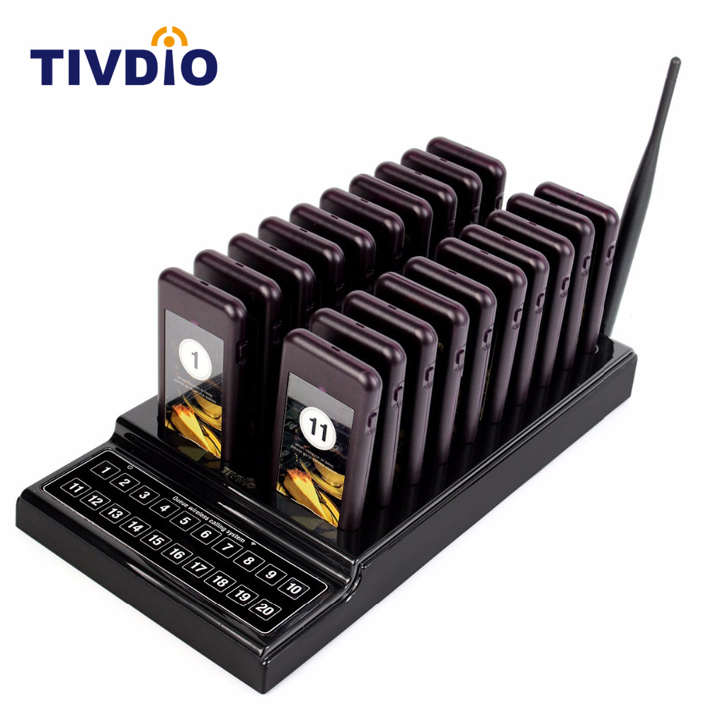 TIVDIO 20 Call Restaurant Pager Wireless Paging Queuing System Call Button Rechargeable Battery Restaurant Equipment F9401A tivdio 433mhz wireless 2 wrist watch receiver 20 calling transmitter button call pager four key pager restaurant equipment f3285