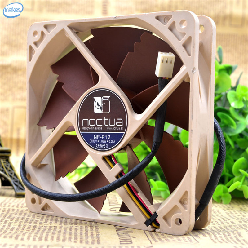 NF-P12 Mute Chassis CPU Water Cooling Row Graphics Cooling Fan DC 12V 1.08W 0.09A 12025 12cm 120*120*25mm 3 Wires personal computer graphics cards fan cooler replacements fit for pc graphics cards cooling fan 12v 0 1a graphic fan