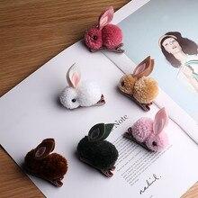 Korea Handmade Cartoon Plush Rabbit Kids Children Girls Hairpins Hair clips Head wear Accessories-GMKHRP007C5