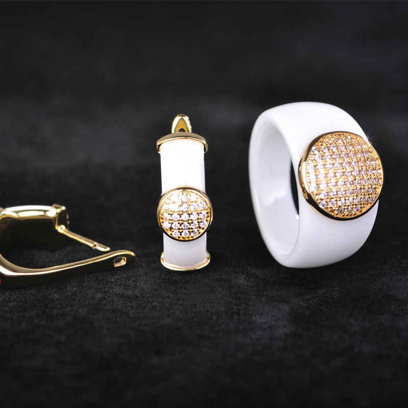 Dazz Shining White Round Ceramic Earrings Ring Jewelry Sets Gold Color Copper Wide Aros Stud Oorbellen Schmuck Women Joyas Gift