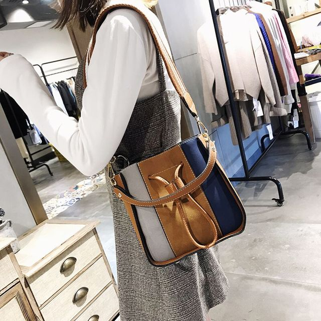 2019 Designer Panelled PU Leather Bucket Tote Bag 2 Set Brand Women Messenger Bag Handbags Female Lady Wide Strap Shoulder Bags