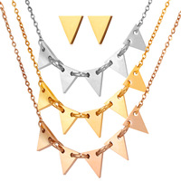 Women Triangle Necklace Earrings Set 1 Lot 3 Pcs Chram Necklace 1 Pair Earrings Gold Wedding