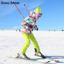 Gsou snow mujeres de la chaqueta de snowboard chaquetas de esquí de invierno de las señoras traje de nieve de esquí femenino cálido impermeable chaqueta esqui mujer